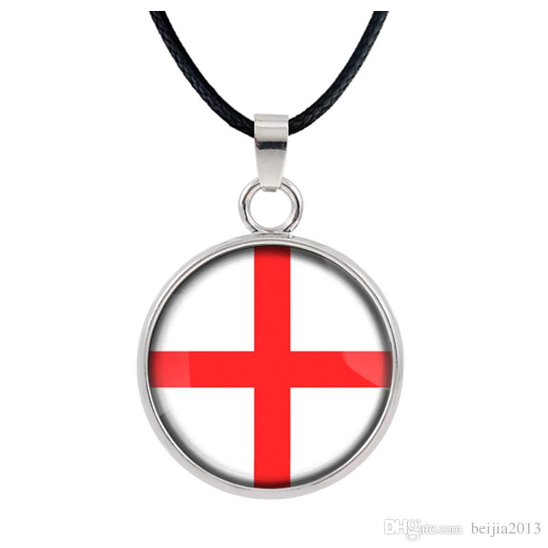 New Three-dimensional 2018 World Cup England Necklace Pendant colorful pendant Glass Cabochon Dome Necklaces jewelry customed