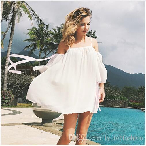 942e3fe1f19 Acquista Summer Beach Dress 2018 Donna Bianco Chiffon Mini Abiti Donna  Casual Sexy Spaghetti Con Cinturino Senza Spalline Senza Spalline Vendita A   19.9 Dal ...
