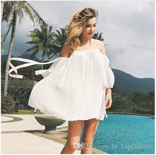 e3d8735580 Summer Beach Dress 2018 Women White Chiffon Mini Dresses Ladies Casual Sexy  Spaghetti Strap Off Shoulder Strapless Backless Sale Canada 2019 From ...