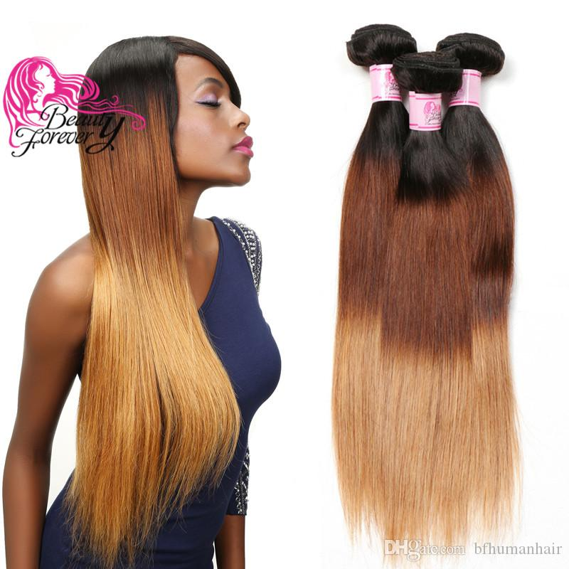 Beauty Forever 8A Virgin Straight Indian Hair Bundles T1B 4 27 Ombre Hair Bundle Straight Human Hair Extensions 3 Bundles Weave