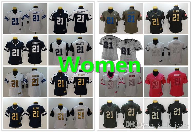 pretty nice 4943b 62267 Women 21 Ezekiel Elliott Dallas Jersey Cowboys Football Jersey 100%  Stitched Embroidery Ezekiel Elliott Color Rush Football Women Jersey