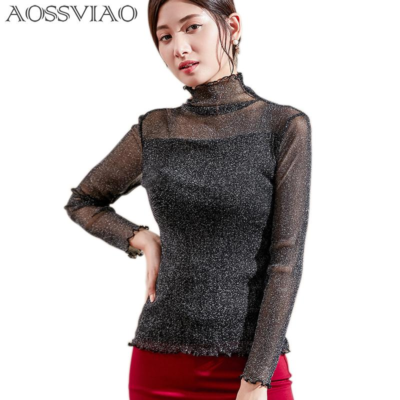 2019 2018 New Mock Neck Lettuce Hem Glitter Mesh Blouse Sexy Womens Long  Sleeve Tops Black Gray Pink High Neck Elegant Slim Blouse From Beasy114 c8533c4dfd33