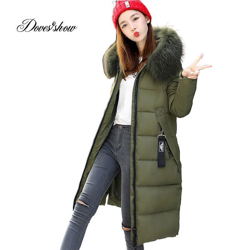 ddb75089f84d Großhandel Mit Kapuze Pelzkragen Winter Daunenmantel Jacke Lange Warme  Frauen Casaco Feminino Abigos Mujer Invierno 2018 Parkas Outwear Mäntel  Ru50 ...