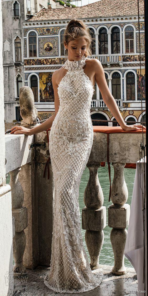 Julie Vino Robes De Mariée Sirène Cou Cou Cou Robes De Mariée Avec Perles Longueur De Plancher Appliques Robe De Mariage De Plage