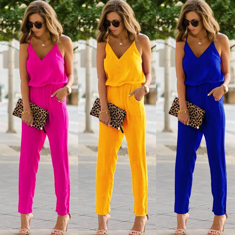 2018 Fashion Casual Women Ladies Jumpsuit Slim Elegant Sleeveless V-Neck High Waist Solid Jumpsuits 3 Style Size S-XL