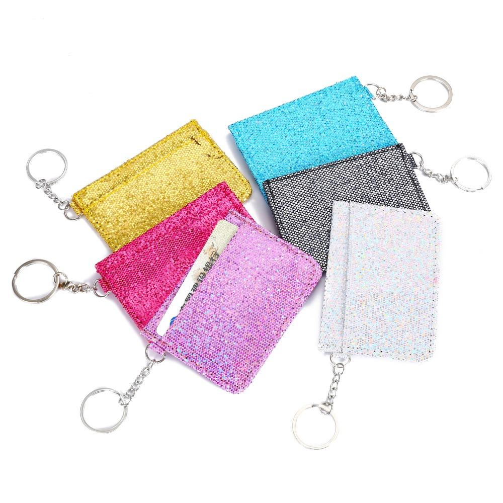 Sequins Keychain Ring Driver License Holder Wallet Bag Glitter Bus Card  Covers Girls Mini Wallet ID Card Holder Organizer Wallet Purse Handmade  Leather ... 61fc569288e3