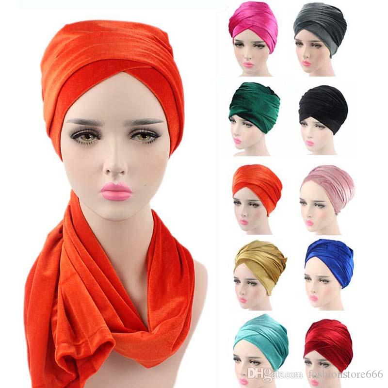 Women Fashion Hot Style Velvet Turban Muslim Long Tail Cap Wrapped Head Scarf Hat Ladies Headwrap Scarf