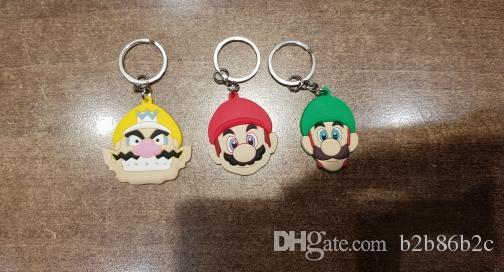 Wholesale Order Super Mario Luigi Daisy High Quality Bright Color Cartoon PVC Keychain Key Ring Bag Cute Accessory Kawaii Party Favor