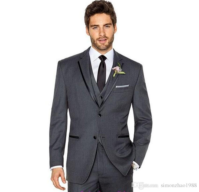2018 Custom Made Classic Tow Buttons Dark Grey Wedding Suits For Men ...