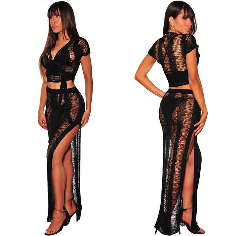 Women Summer Beach Golden Maxi Dress Set Women Party Hollow Out Bodycon Bow Tie Sexy Perspective Dress and Crop Top Set