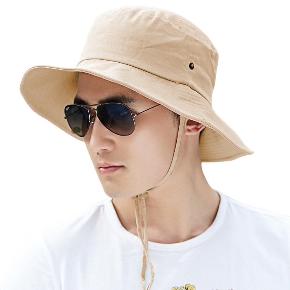 465fe3a990b605 Men Bucket Summer Outdoor Sun Hat Cotton Packable Unisex Boonie SPF UV 50+  Fishing Hiking Cap Chin Strap Breathable