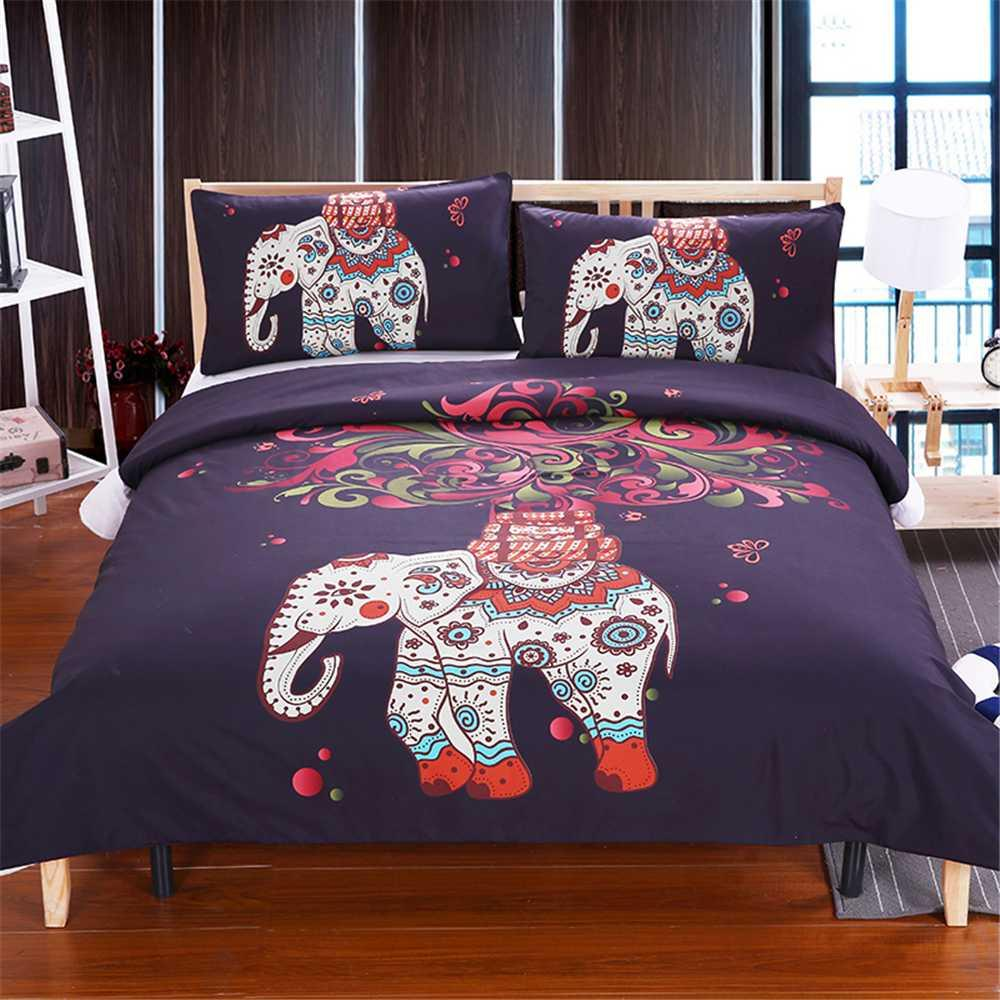 57a30a71f81 Fashion Printed 3D Colored Elephant Bedding Set Tree Pattern Bohemia  Bedspread Black Bed Cover USA AU Size Bedding Outlet Leopard Print Bedding  Modern Duvet ...
