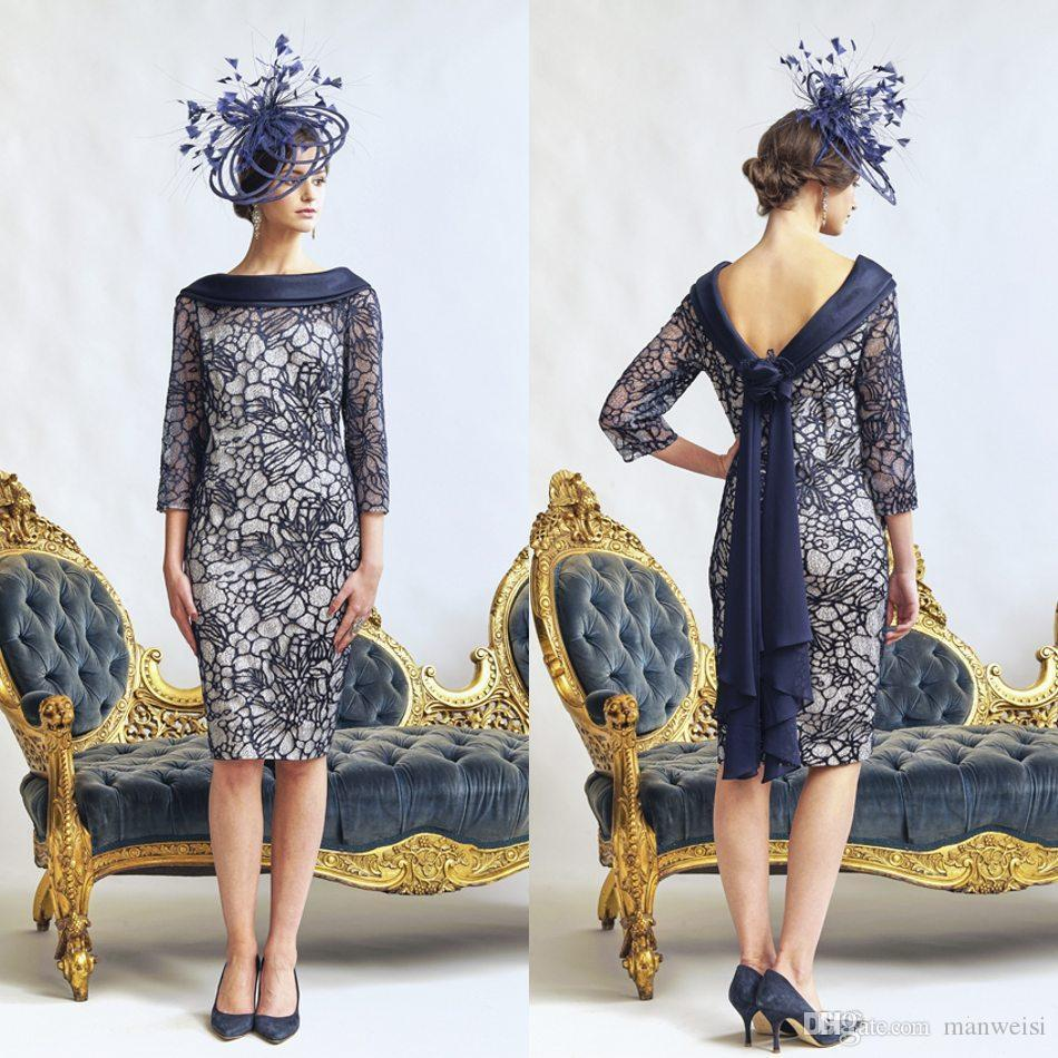 eae621951b31 Dark Navy Mother Of The Bride Dresses Bateau Neck 3/4 Long Sleeve Formal Evening  Gowns Knee Length Lace Wedding Guest Dress Plus Size Mother Of The Bride ...