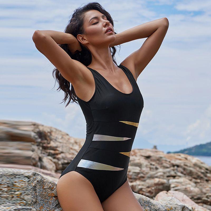 326e867efdcb8 2018 Women Large Size Swimsuit Plus Size Swimwear Solid Bodysuit One ...