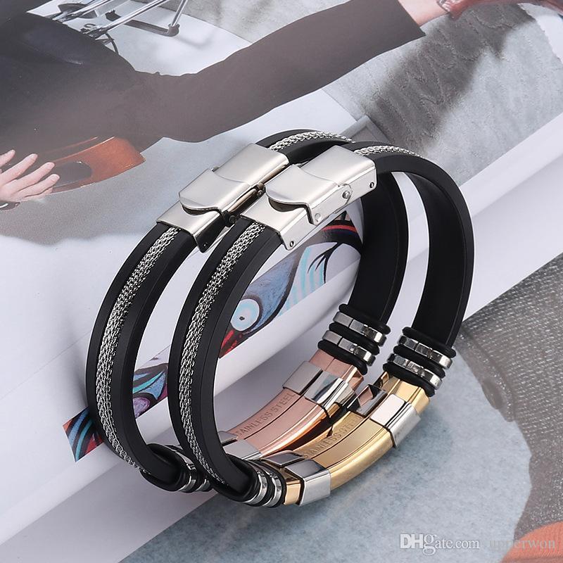 Mens Bracciali Acciaio inox satinato nero silicone Bracciali Charm Bracelet maschio braccialetto gli uomini JewelryGold / nero / argento / rosa color oro