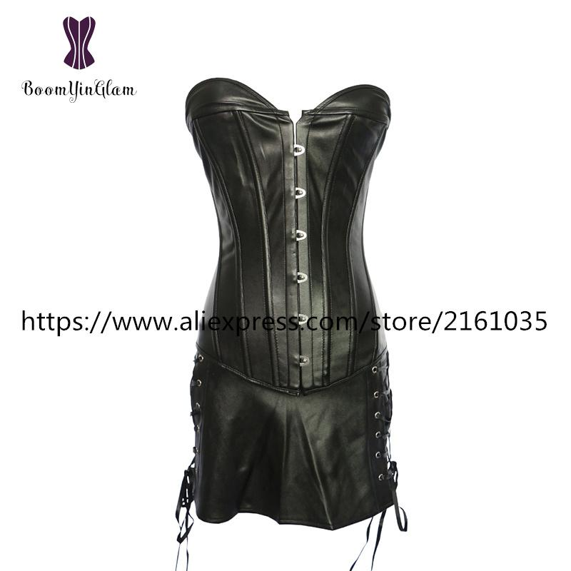 844# High quality plus size XXXXXXL corselet black and red synthetic leather corset with skirt sexy corset dress