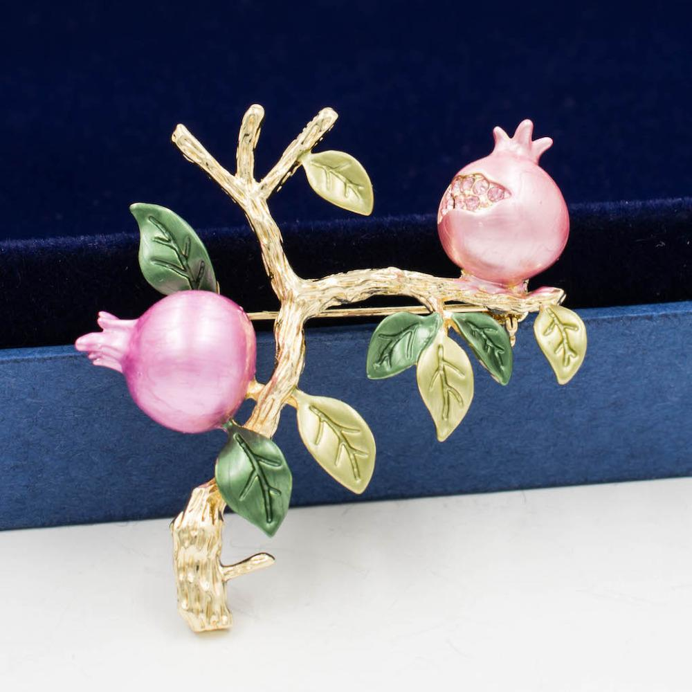 a0258b43b2c13 Pretty Pink Rhinestone Crystal Enamel Pomegranate Brooch Pin Broach For  Woman Jewelry 03701