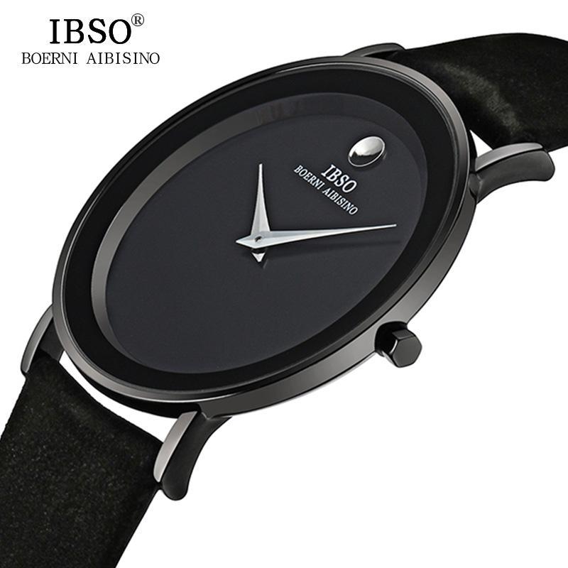 c849fb53cf3 Compre IBSO 7 MM Ultra Slim Mens Relógios Marca De Luxo Genuíno Couro Strap  Moda Quartz Watch Men 2017 À Prova D  Água Relogio Masculino De Pickled