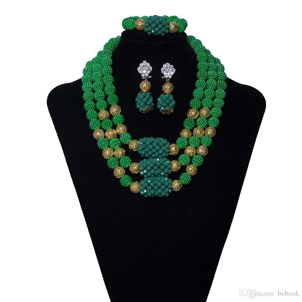 3 Row Green Bridal Crystal African Beads Jewelry Set Coral Nigerian Wedding Beads African Womens Clothing Wedding Statement Necklace