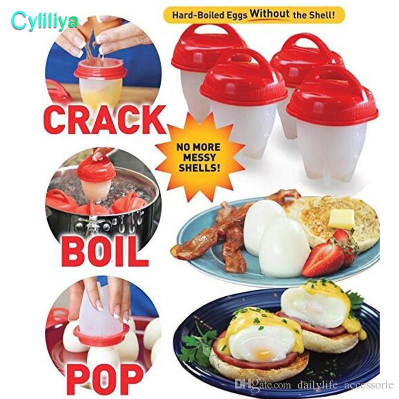 طبخ بيض غير عصا سيليكون بيض مسلوق بدون غلي بيض القشرة أدوات طبخ / Set صنع أطباق بيض لذيذة