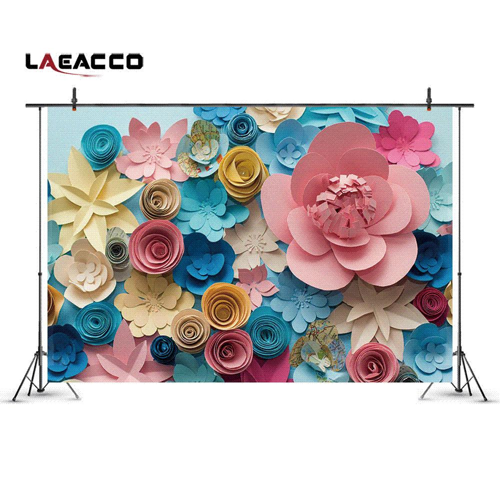 Discount laeacco colorful blooming paper flowers wall photo discount laeacco colorful blooming paper flowers wall photo backgrounds customized digital photography backdrops for photo studio 5x7ft from china dhgate mightylinksfo