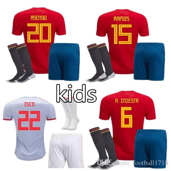 MORATA ASENSIO ISCO SILVA Spain Soccer Jersey Kits 2018 World Cup Spainsh Football  Jerseys Kids Kit Shirt Camisetas Chandal De Futbol Online with  18.68 Set  ... 2f6f13a35
