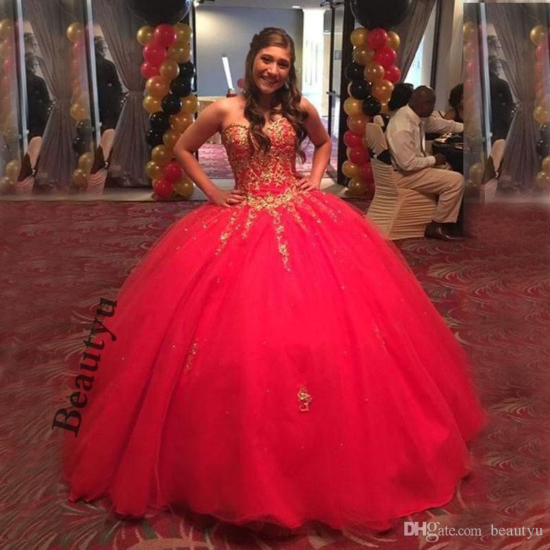 7382aeb63f ... Doce 16 Vestidos Quinceanera Com Laço De Ouro Plus Size Vermelho 2018  Espartilho Puffy Pageant Formal vestido de Baile Vestido de Baile Vestidos  15 anos