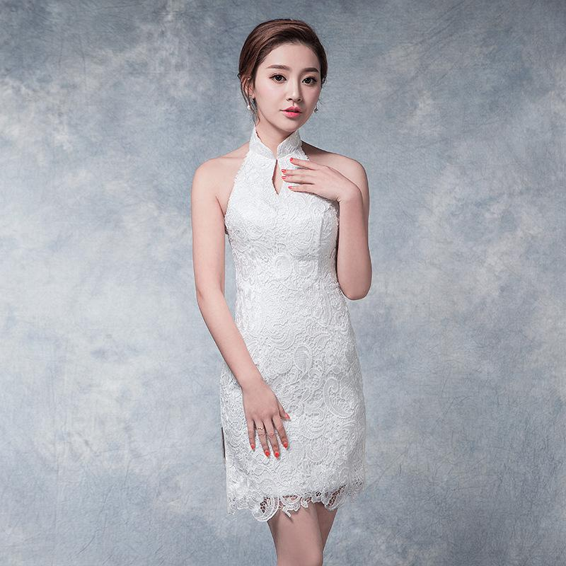 6ba3d9f107b2b Modern Cheongsam Sexy Qipao White Halter Chinese Traditional Dress Oriental  Style Dresses China Clothing Store Chino Tradicional