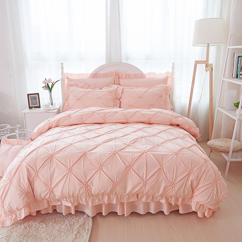 Großhandel Rosa Handgemachte Rüsche Bettwäsche Setzt Luxus 4