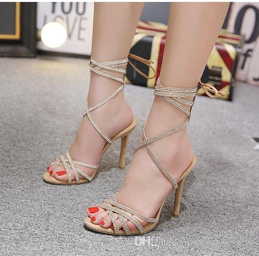cad02bce91fc Rome Style Rhinestone Ankle Wrap High Heels Women Summer Party Prom Shoes  2018 Size 35 To 40 Loafers Mens Boots From Myshoescity