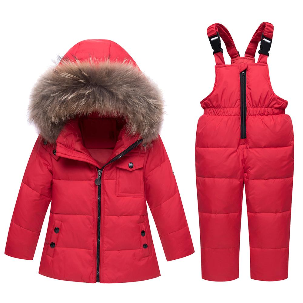 406bcf4f9dfa Winter Children Snowsuit Fur Hood Clothing Set White Duck Down ...