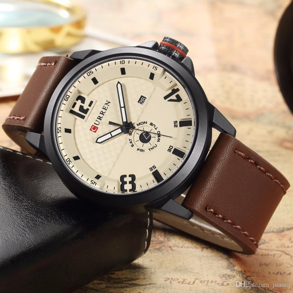 9306f1c7c06 Curren Watch Fashion Casual Quartz Wristwatch Men Leather Strap Round  Quartz Auto Date Calendar Week Relogio Masculino 8253 Digital Wrist Watches  Wrist ...