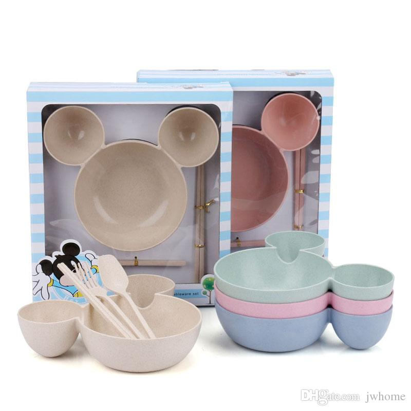 Kitchen Plate Set Dinnerware Cartoon Shape Child Bowl Sets Wheat Straw Products Eco Friendly Custom Logo