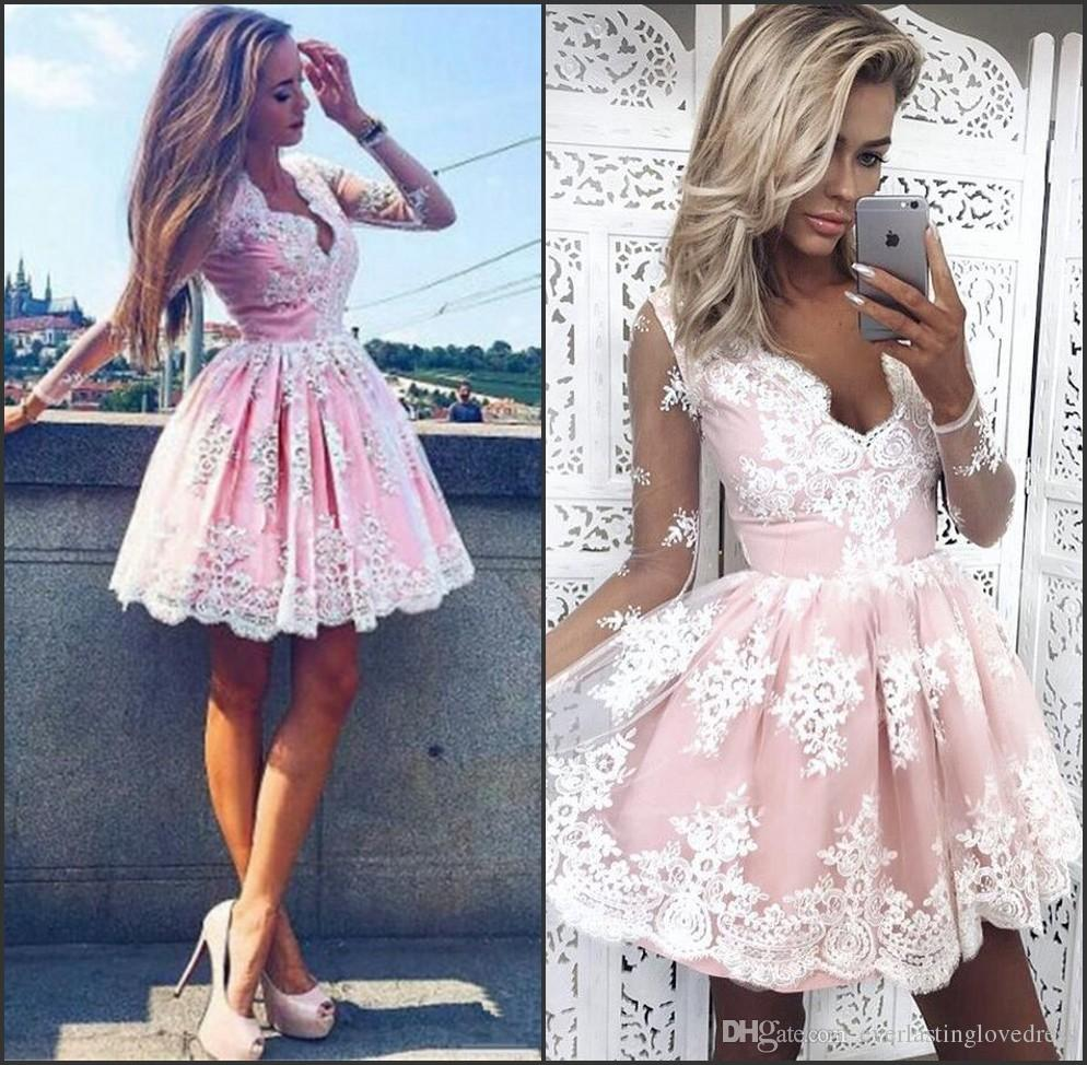 21fdd355f3f Knee Length A Line Deep V Neck Long Sleeves Cheap Tulle Lace Homecoming  Dresses Blush Pink Short Lace Homecoming Dresses Dresses Online White Dress  From ...