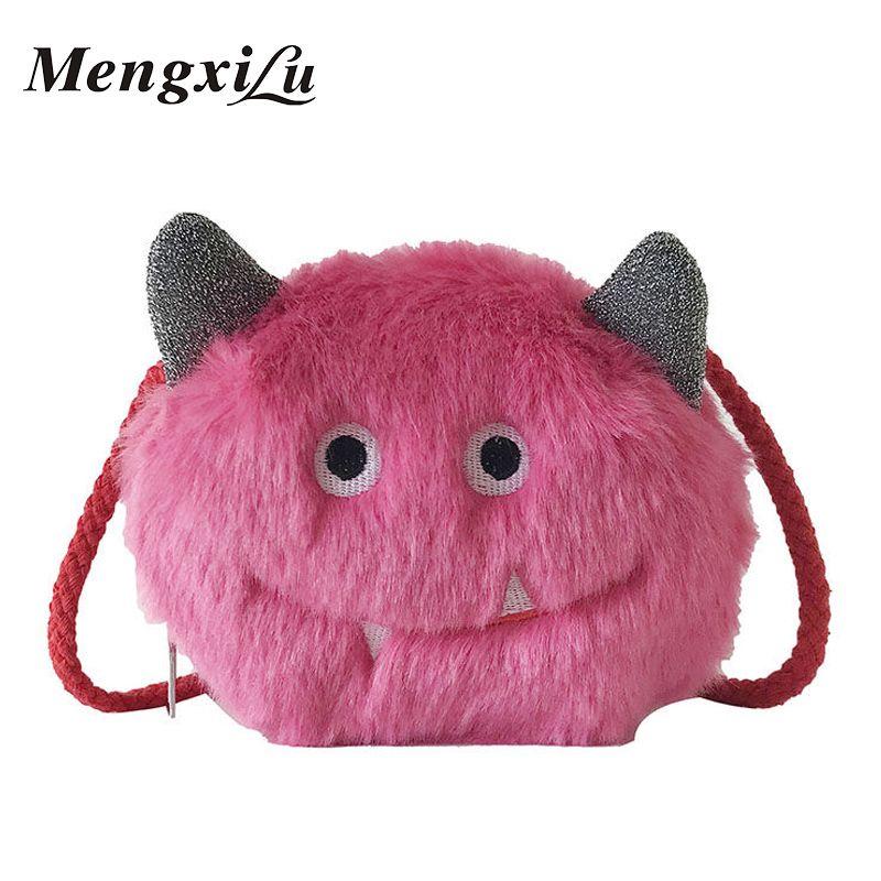 MengXiLu Brand Cut Cartoon Design Women Crossbody Bags 2018 Winter Soft Faux  Fur Ladies Handbag Circular Shoulder Bag Female Sac Mens Shoulder Bags  Shoulder ... ad1a4eef4bdb2