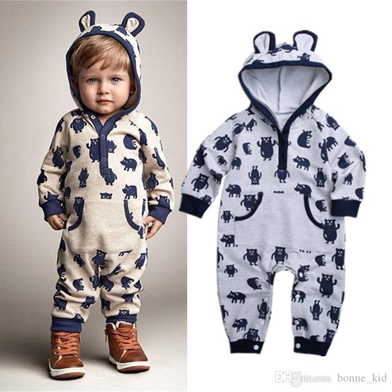 ee5277eb7295 2019 Newborn Baby Boy Animal Hooded Jumpsuit Bear Pajamas Cute Long ...
