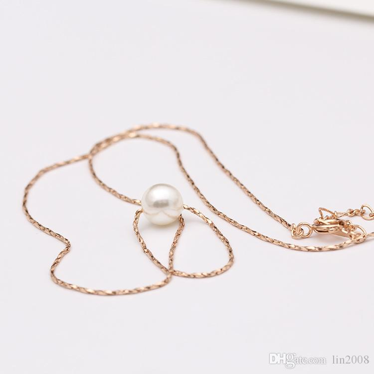 2015 nieuwe mini parel hanger ketting en oorraring voor vrouwen, 18K vergulde kettingen kettingen en oorbel, mode-sieraden,