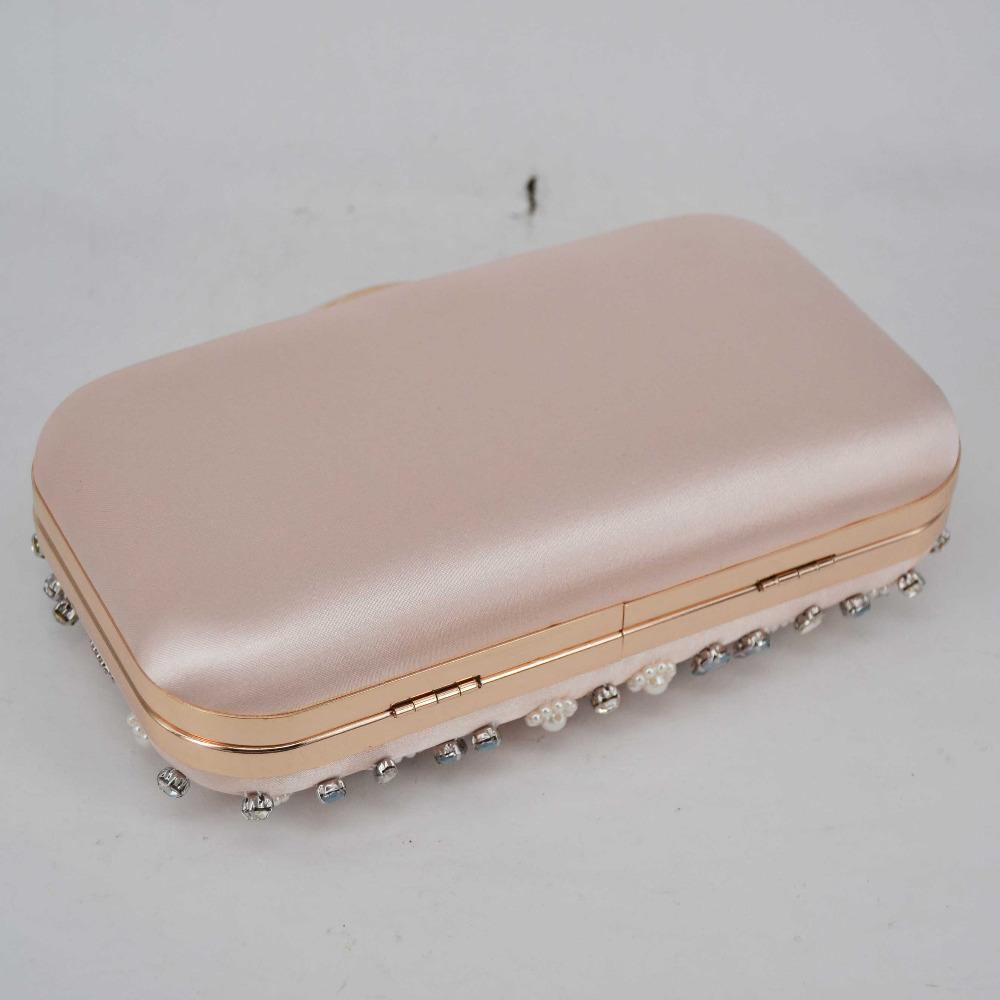 Light Pink Satin Luxury Crystal Pearl beaded Clutch Bag Women Chain Evening Bag Cheap Wholesale Wedding Purse Female Handbag Z94