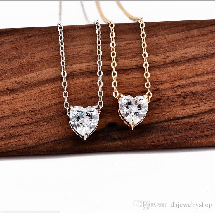 Bijoux Fashion exquis service Zircon Amour Pendentif Coeur Collier femme Collier ras du cou Colliers Lovers Bijoux Cadeau