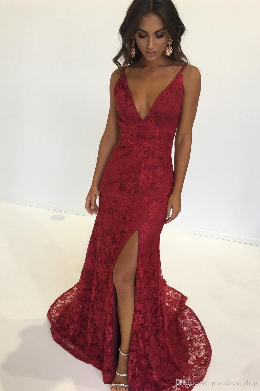 48684c3157a4d Sexy Red Lace Prom Dresses 2019 Deep V Neck Spaghetti Straps High Split  Backless Evening Dresses Mermaid Evening Gowns Sweep Train Prom Dress Under  100 Prom ...