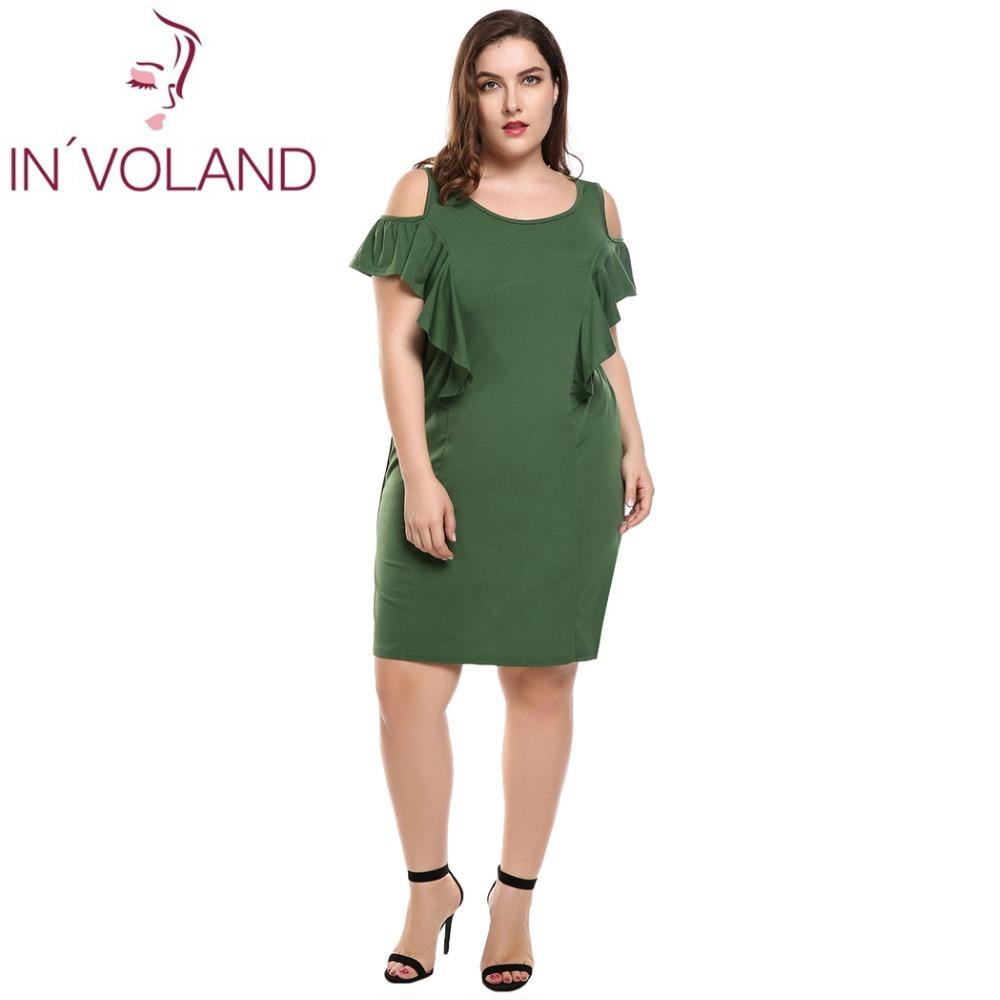 2326af8ad6b IN VOLAND Women Dress Plus Size Sleeveless Cold Shoulder Ruffles Solid  Shift Tank Pencil Dresses Feminino Vestidos Oversized 4XL Vestidos Plus  Vestido ...