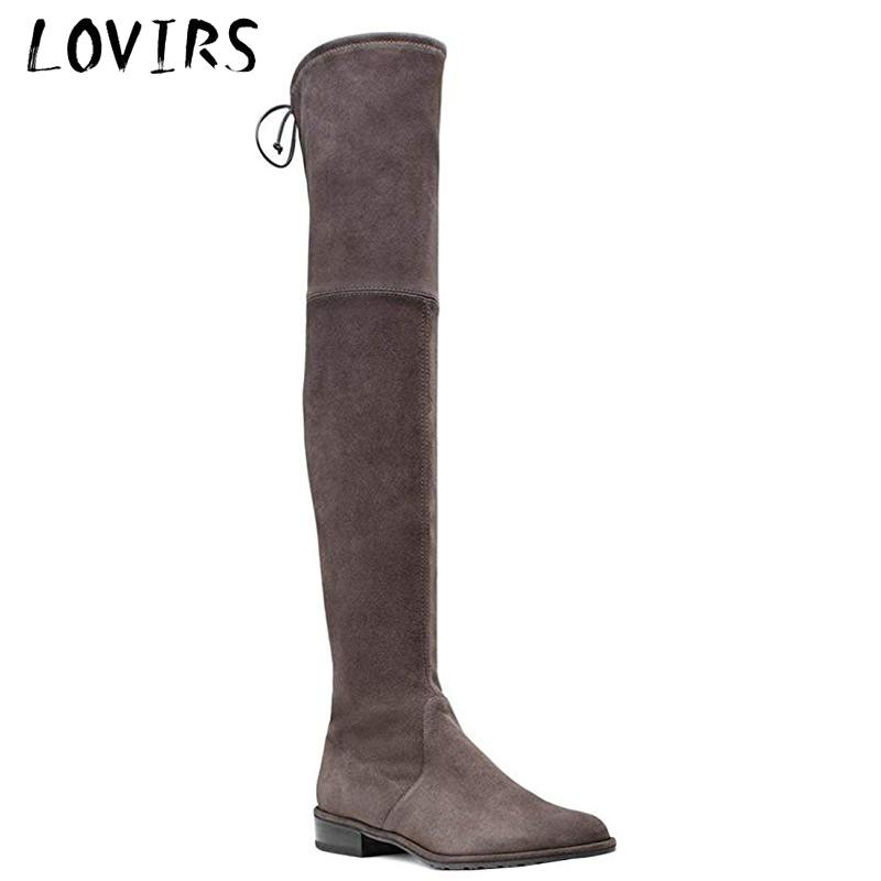 Lovirs Womens Round Toe Suede Flats Thigh High Over The Knee Stretch Boots Shoes