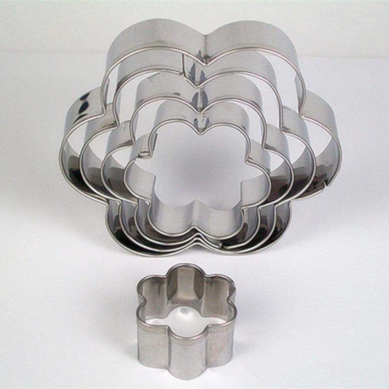 Stainless Steel Fondant Cake Baking Mould Round/ Heart /Flower/ Star Shape Cookie Biscuit Cutter Decorating Moulds AA