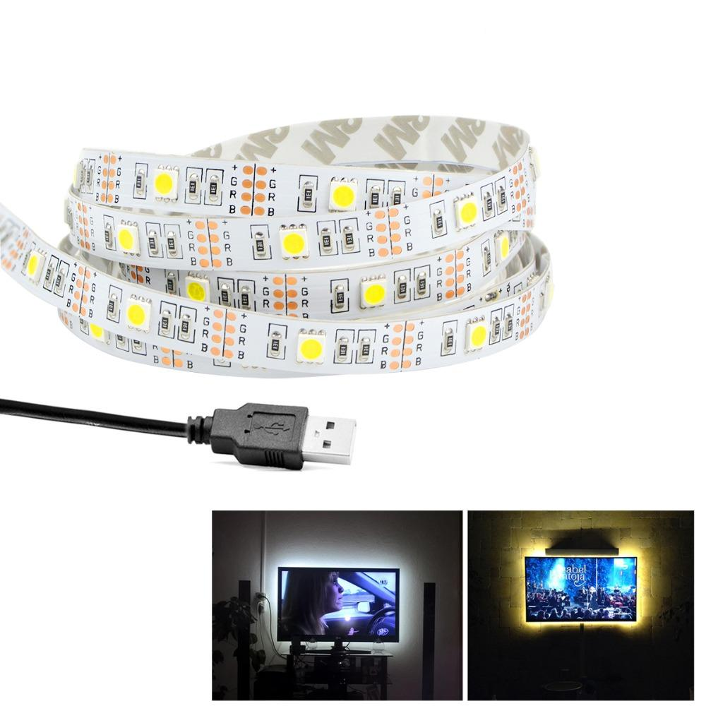 Christmas Decoration Dc 5v Led Strip Light Tape Usb Cable Power 50cm Quick Adapter Wiring Connector Multi Color Rgb 5050smd 1m 2m 3m 4m 5m Smd 5050 2835 String For Tv Background Connectors