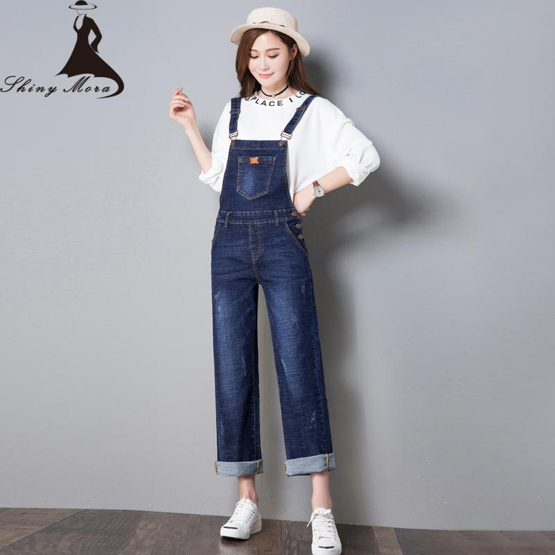 SHINYMORA Autumn Overalls for Women 2017 New Fashion Loose Jeans Pants Female Denim Jumpsuits Wide Leg Vintage Casual Jeans 323