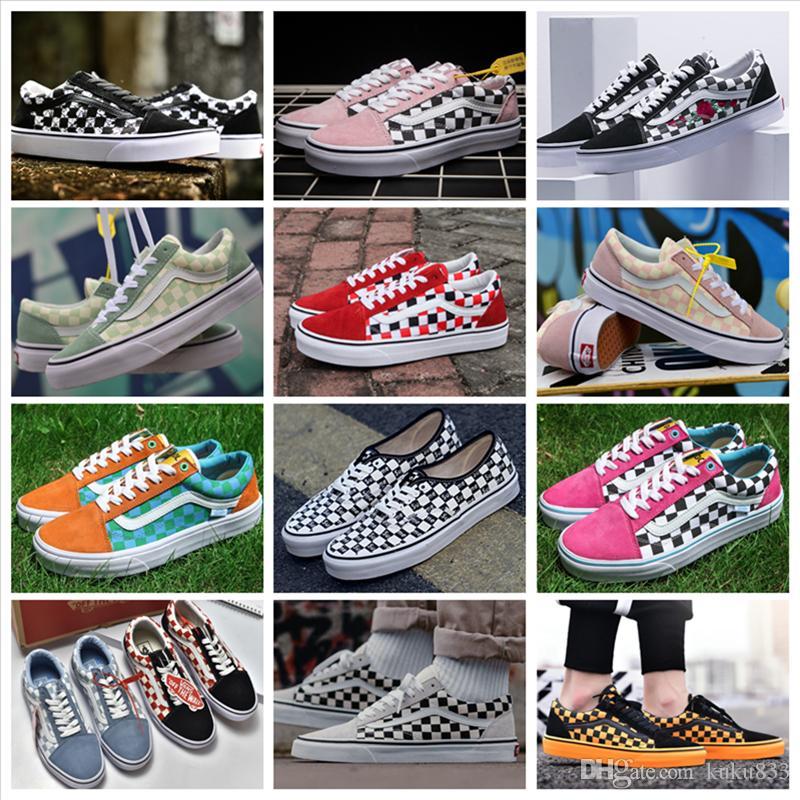451f266f99c VANSES Old Skool Style36 OG SK8 HI Canvas Casual Shoes Men Women Skateboard  Fashion Checkerboard Grid Black White Running Shoes Size 36 44 Deck Shoes  Mens ...