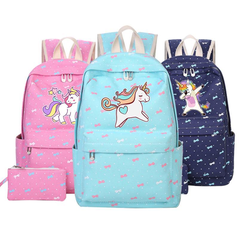 b5687c92f Compre Mochila De Anime Con Unicornio Para Mochila Escolar Unicornio Dab  Bolsas De Lona De Dibujos Animados Para Niñas Adolescentes Lindo Niño Rosa  ...