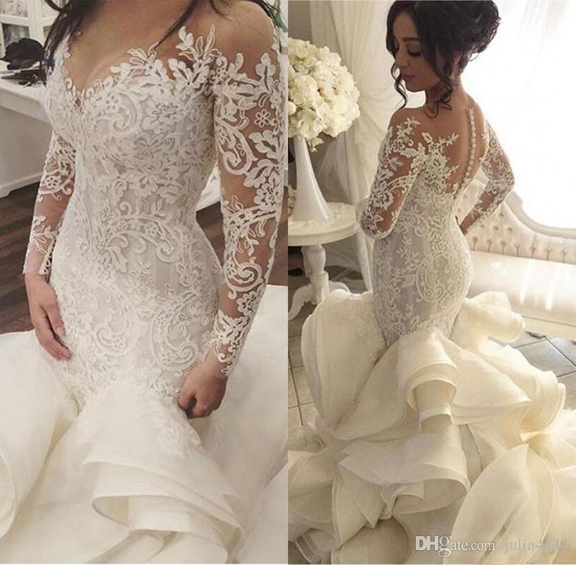 Mermaid Wedding Dresses Plus Size 2018 Fashion New Lace Long Sleeve
