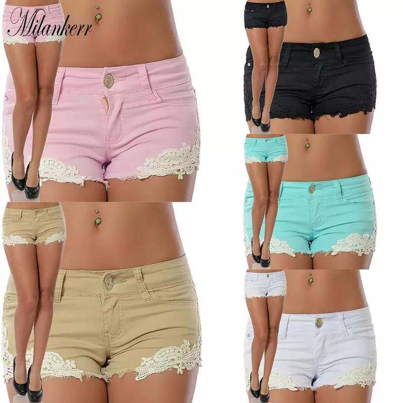 Skinny Rf1414 Short Coton Unie Jean Dentelle Sexy Femmes Mode Patchwork Couleur Shorts OPXwTZiuk