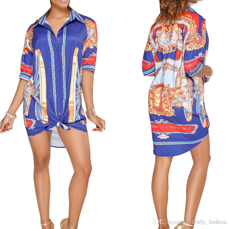 Женщины Блузки Осень С Длинным Рукавом Африканский Цветочный Принт Блузка Элегантный Партия Повседневная Кнопка Вниз Рубашки Старинные Женские Топы Blusas